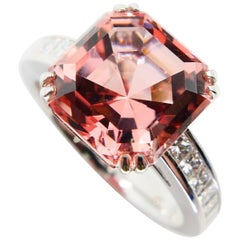 Natural Asscher Cut Peach Pink Tourmaline 4.96 Carat and Diamond Cocktail Ring