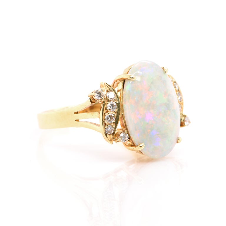 Modern Natural Australian White Opal and Diamond Ring Set in 18k Yellow Gold For Sale