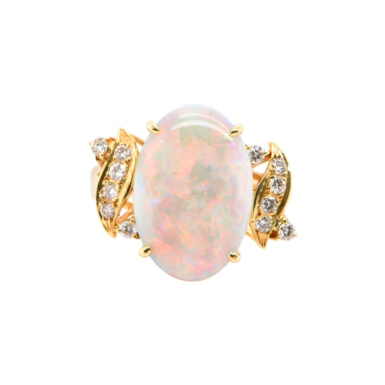 Natural Australian White Opal and Diamond Ring Set in 18k Yellow Gold For Sale