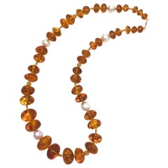 Natural Baltic Amber Necklace with Baroque Pearls and 18K Gold Beads