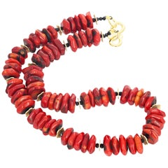 Natural Bamboo Coral and Black Spinel Necklace