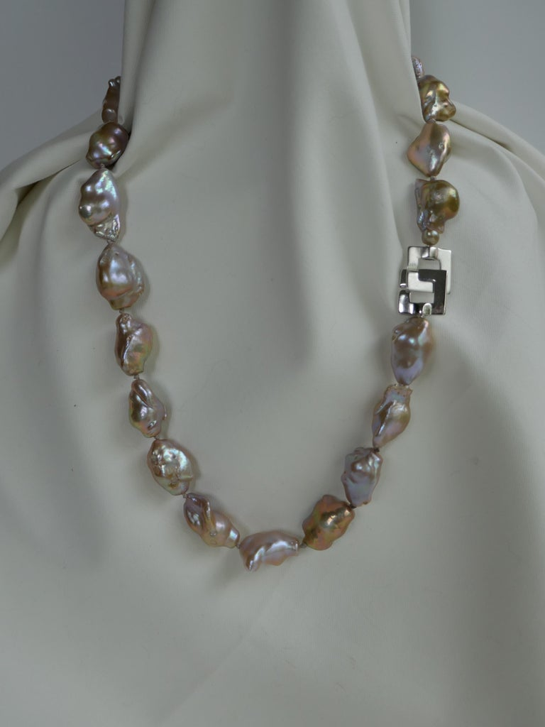 Contemporary Natural Baroque Cultured Pearls 925 Sterling Silver Clasp Necklace For Sale