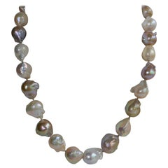 Natural Baroque Cultured Pearls 925 Sterling Silver Clasp Necklace