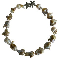 Natural Baroque Cultured Pearls Exclusive 925 Sterling Silver Clasp Necklace