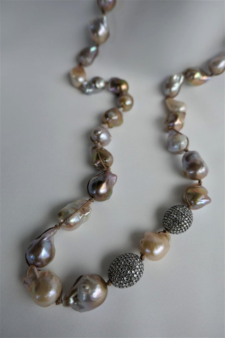 Contemporary Natural Baroque Cultured Pearls White Topaz Sterling Silver Necklace 925 Silver For Sale