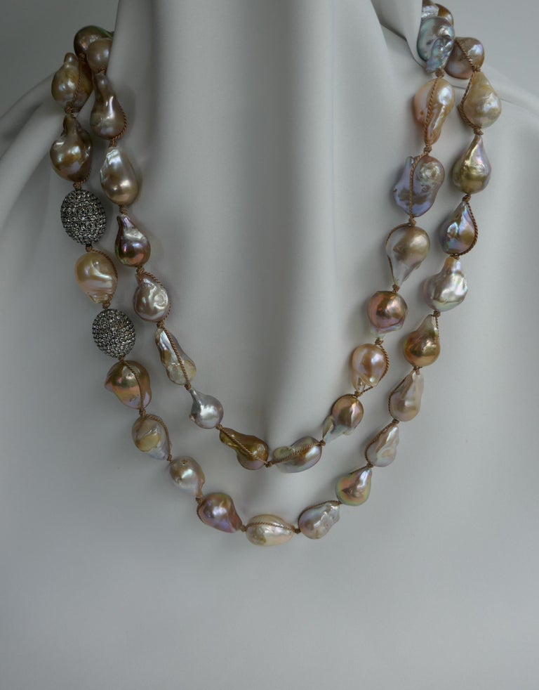 Natural Baroque Cultured Pearls White Topaz Sterling Silver Necklace 925 Silver In New Condition For Sale In Coral Gables, FL