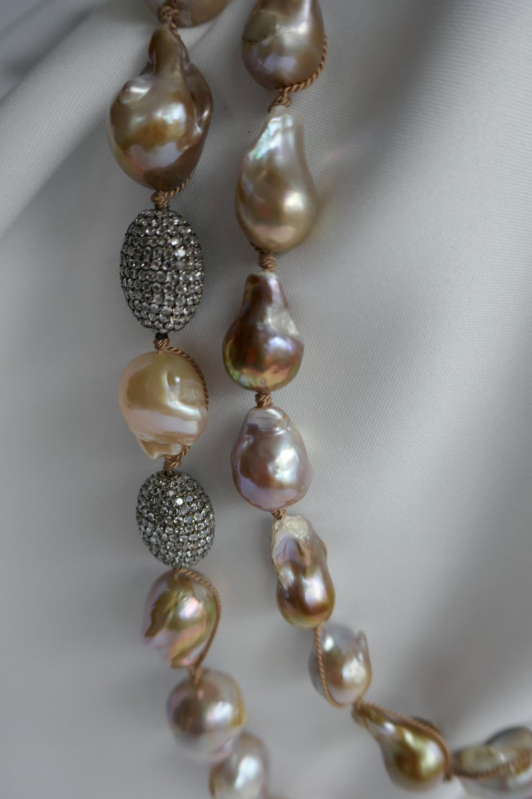 Women's Natural Baroque Cultured Pearls White Topaz Sterling Silver Necklace 925 Silver For Sale