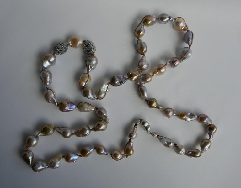 Natural Baroque Cultured Pearls White Topaz Sterling Silver Necklace 925 Silver For Sale 2