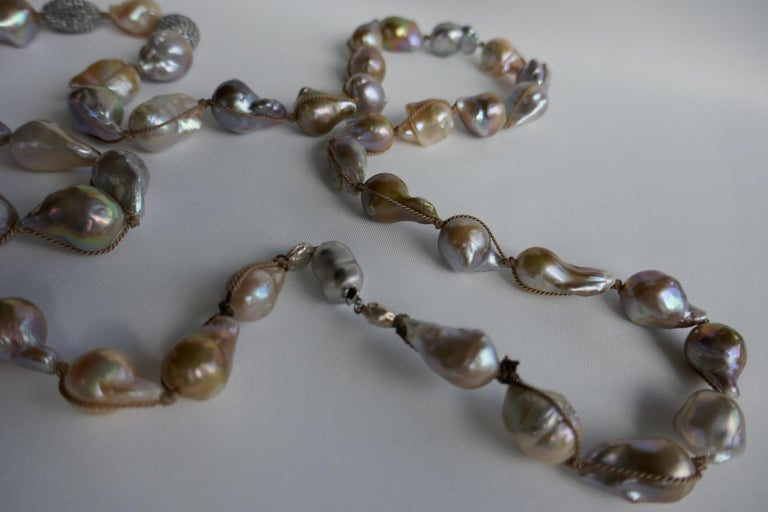 Natural Baroque Cultured Pearls White Topaz Sterling Silver Necklace 925 Silver For Sale 4