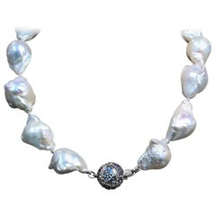 Stephen Dweck Natural Baroque Pearl & Rainbow Moonstone Necklace