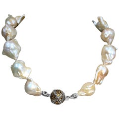 Stephen Dweck Natural Baroque Pearls & Citrine Pave Necklace