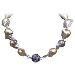 Stephen Dweck Natural Baroque Pearls & Pave Amethyst Necklace