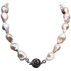 Stephen Dweck Natural Baroque Pearls & Pave Garnet with Sterling Silver