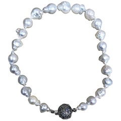 Stephen Dweck Baroque South Sea Pearls & Pave Rainbow Moonstone Necklace
