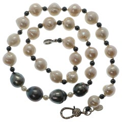 Natural Baroque White Gray Akoya Pearl Necklace with Sterling Diamond Clasp