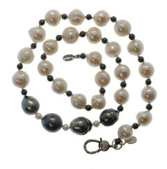 Natural Baroque White South Sea Pearl Necklace with Sterling & Diamond Clasp
