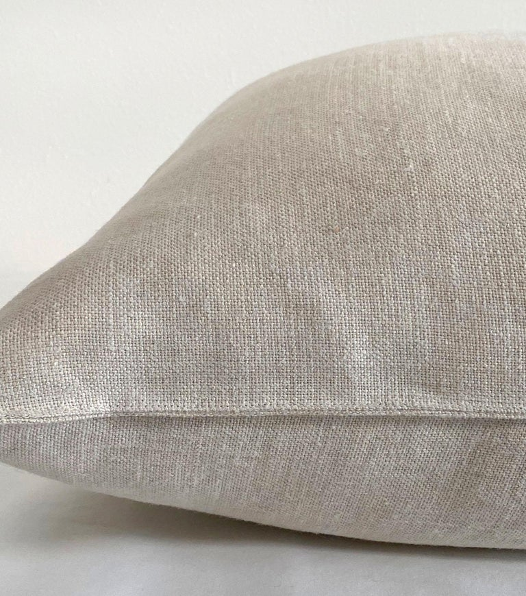 European Natural Belgian Linen Accent Pillow Cover For Sale