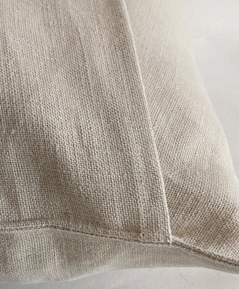 Contemporary Natural Belgian Linen Accent Pillow Cover For Sale