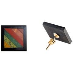 Natural Black Agate Rainbow Jasper Gold Plate Stud Chic Cocktail Earrings
