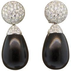 Natural Black Coral Diamond Gold Drop Earrings