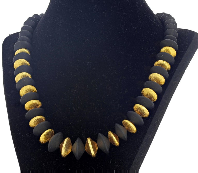 Women's or Men's Natural Black Onyx and Vermeil Rondels Necklace For Sale