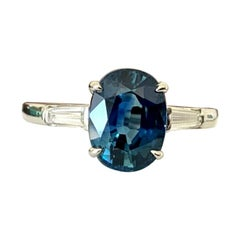 Natural Blue 3.34 Carat Oval Cut Sapphire and Diamond Ring 18k GIA Certified