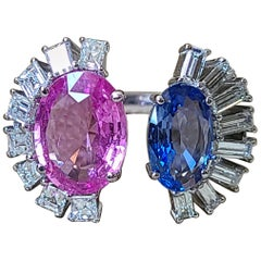 Natural Blue and Pink Sapphire Ring Set in 18 Karat Gold with Diamonds