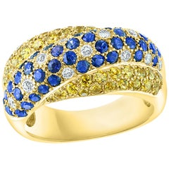 Natural Blue and Yellow Sapphire and Diamond 18 Karat Yellow Gold Ring