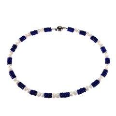 Natural Blue Lapis Lazuli and White Quartz Choker Necklace
