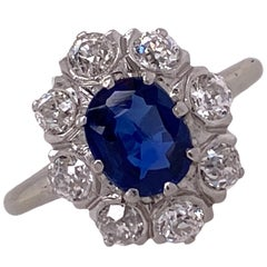 Natural Blue Oval Sapphire Old Mine Cut Diamond Estate Ring AGL Cert. No Heat