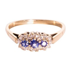 Natural Blue Round Sapphires and Diamond 9 Carat Gold Vintage Cluster Ring