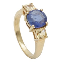 Natural Blue Sapphire 3-Stone Engagement Ring in 18 Karat Yellow Gold