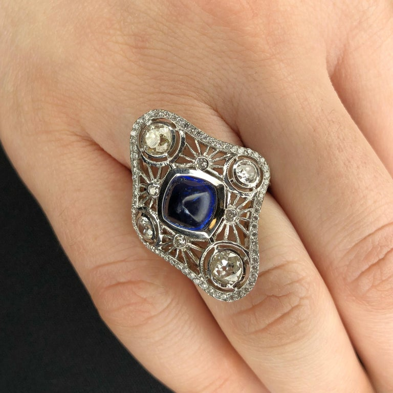 Natural Blue Sapphire and Old Mine Cut Diamond Cocktail Ring