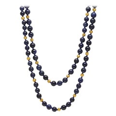 Natural Blue Sapphire Beaded Long Necklace with Gold Beads