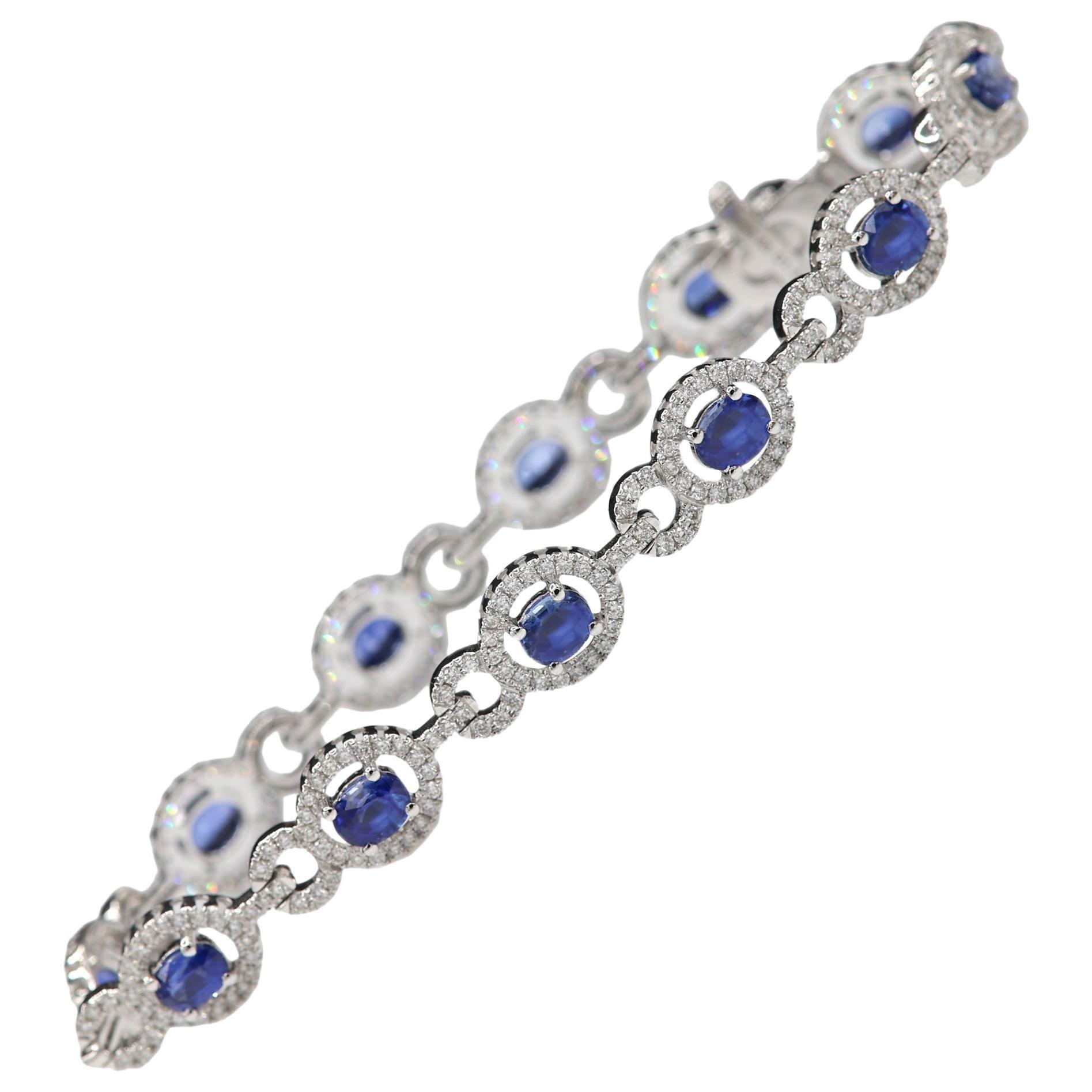 Natural Blue Sapphire Bracelet 18 Karat White Gold and Diamonds Oval Sapphire