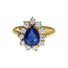 Natural Blue Sapphire & Diamond Cocktail Ring