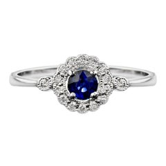 Natural Blue Sapphire Diamond Cocktail Ring