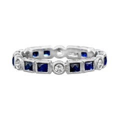 Natural Blue Sapphire Diamond Engagement Ring