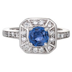 Natural Blue Sapphire Diamond Ring Estate 14 Karat White Gold Square Halo