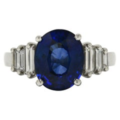 Natural Blue Sapphire Engagement Ring GIA Certified 4.39 Carat Art Deco Inspired