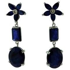 Natural Blue Sapphire Flower Star Cluster Diamond Drop Earrings