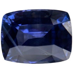 Natural Blue Sapphire, GIA No Heat, 4.84 Carat Cushion Cut