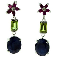 Natural Blue Sapphire, Tourmaline, and Ruby Star Cluster Diamond Drop Earrings