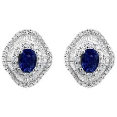 Natural Blue Sapphires and Diamond Earrings