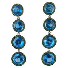 Natural Blue Topaz and Green Garnet Dangle Earrings