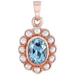 Natural Blue Topaz Pearl Pendant
