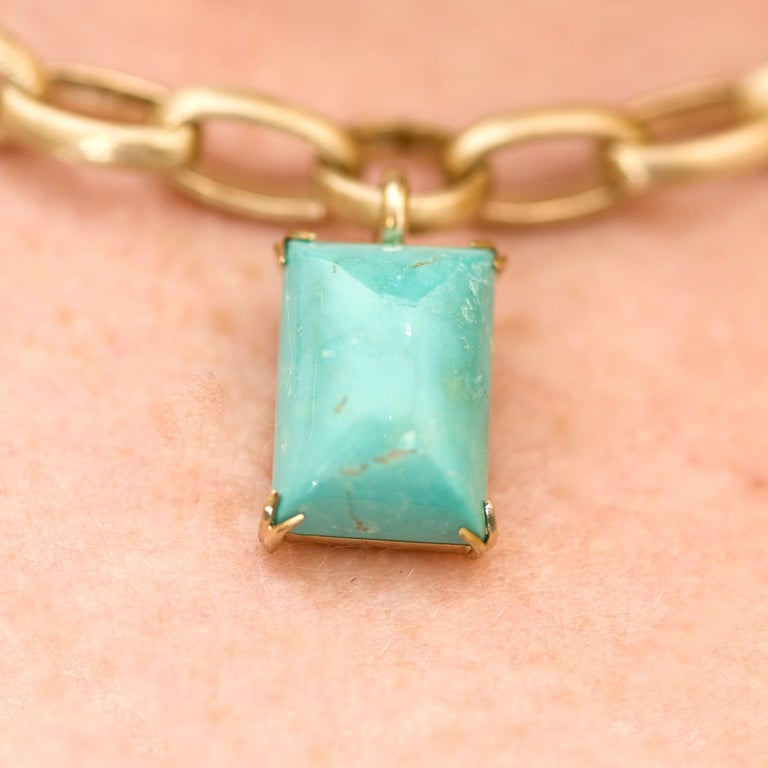 Natural Blue Turquoise 14 Karat Yellow Gold Necklace For Sale 4