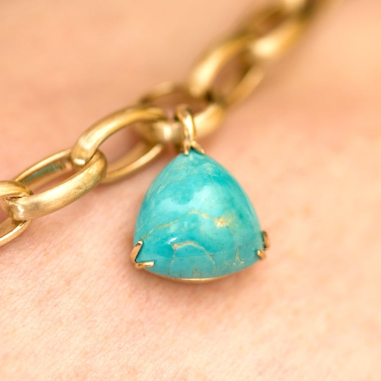 Natural Blue Turquoise 14 Karat Yellow Gold Necklace For Sale 5