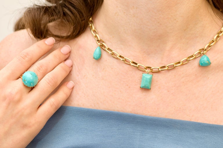 Cabochon Natural Blue Turquoise 14 Karat Yellow Gold Necklace For Sale