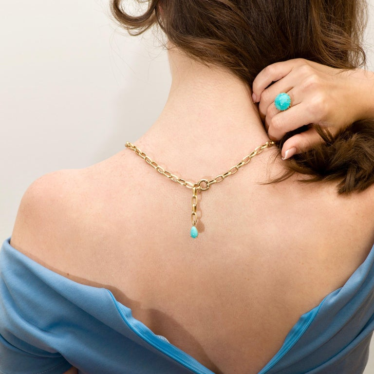 Natural Blue Turquoise 14 Karat Yellow Gold Necklace In New Condition For Sale In Yerevan, AM
